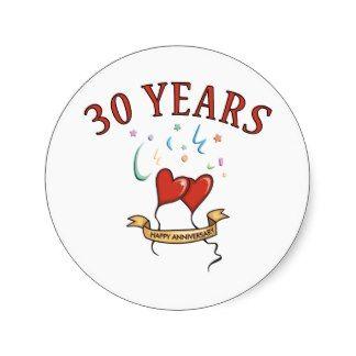 30ème Cadeaux d'anniversaire de mariage Adhésif Rond