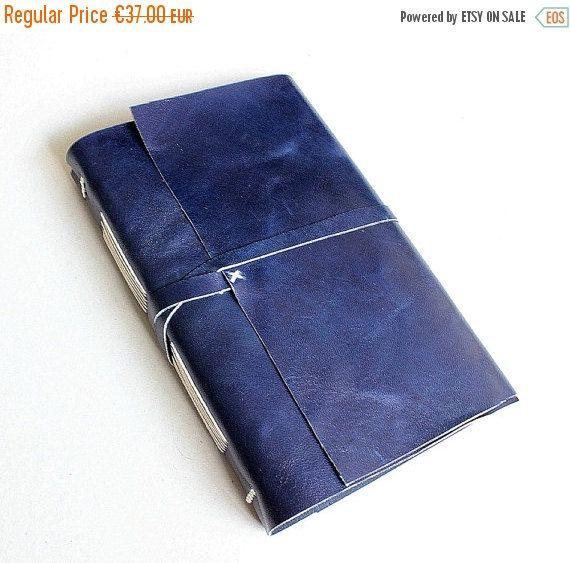 ON SALE Blue Leather Journal by GatzBcn on Etsy