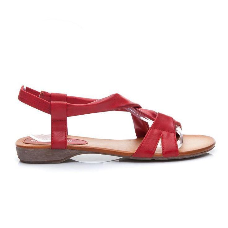 Czerwone sandały na wygodnym płaskim obcasie