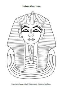 Teaching about Egypt, mummies -Tutankhamun colouring page and other Ancient Egypt coloring pages