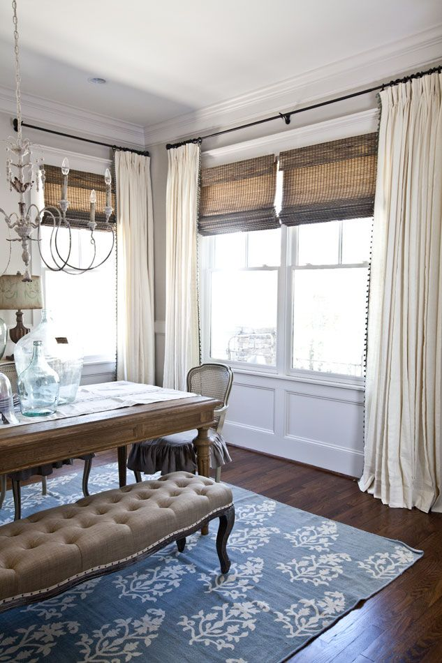 "Bali Drapery from the Dover collection, in the color Snowfall (1157) with 1 ½"" globe fringe in Mingled Morning Blue (4014). And Bali Natural Shades. http://blog.baliblinds.com/new-curtains-for-the-dining-room/?utm_source=Social&utm_medium=Pinterest&utm_term=April%20Blogs&utm_campaign=Curtains%20ANITA"