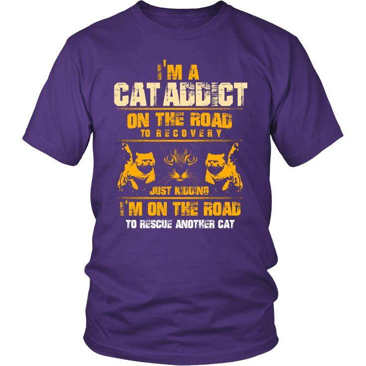 """I'm A Cat Addict"" Custom Printed Shirt | Wrapped Direct"