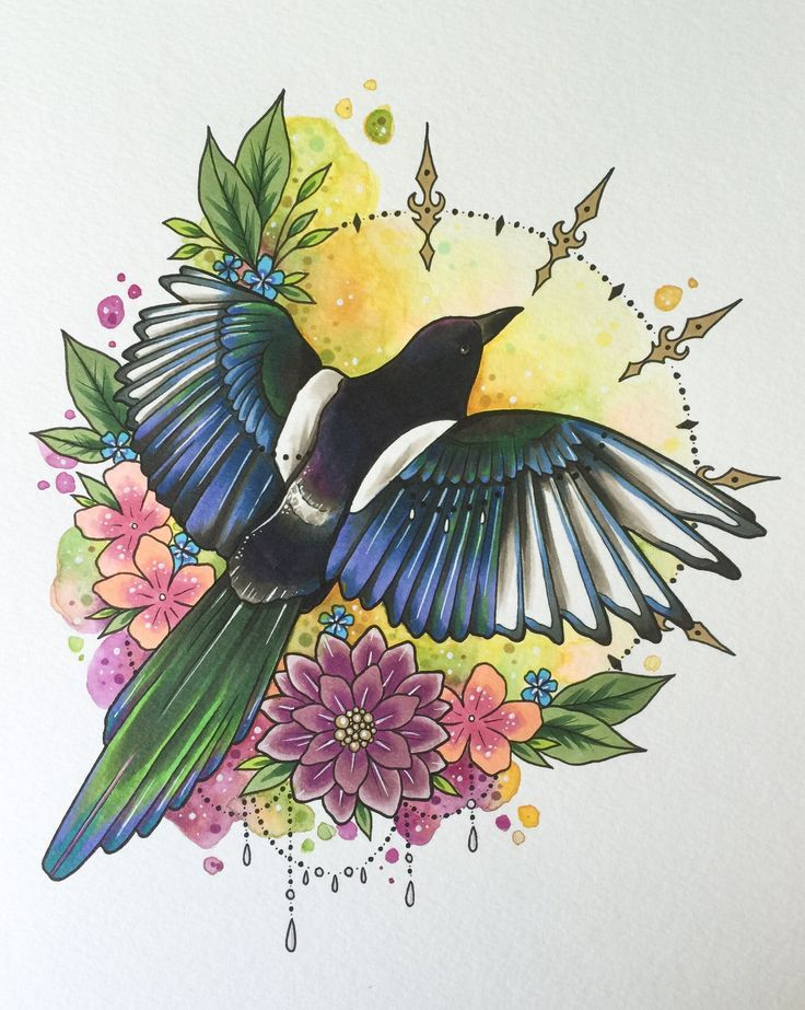 Magpie tattoo print, tattoo design, gift for the home, bird