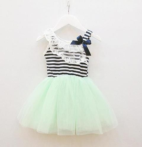 This will be Sophs birthday dress!  Navy blue and white striped top with a mint tutu skirt. Simply adorable and perfect for the spring or summer!    sizes 2-3, 3-4 and 4-5.