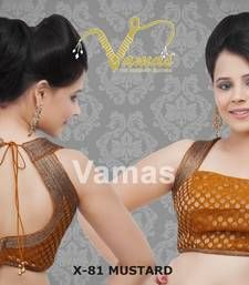Buy Brocade blouse with Shimmery Armhole. x-81slmu.Mustard. Muhenera presents designer vama collection sleeveless-blouse online