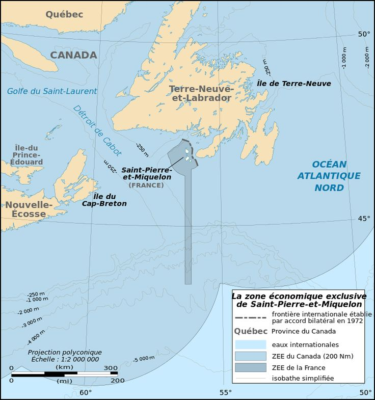 Map of the Exclusive Economic Zone of Saint Pierre and Miquelon