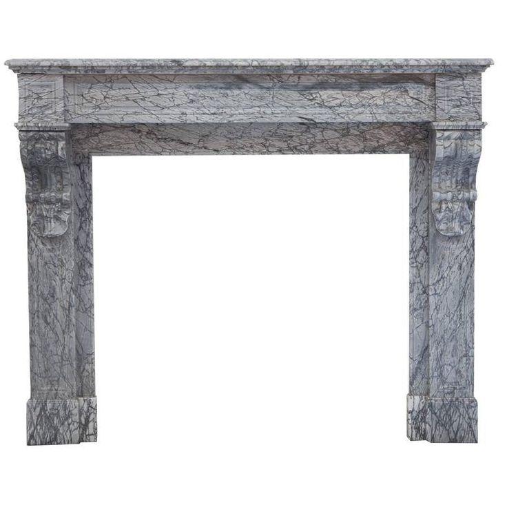 19th Century Louis Phillipe Italian Bardiglio Marble Fireplace Mantel