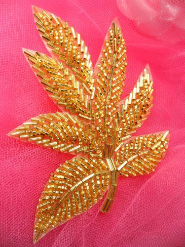 FS140 Gold Beaded Applique 4""