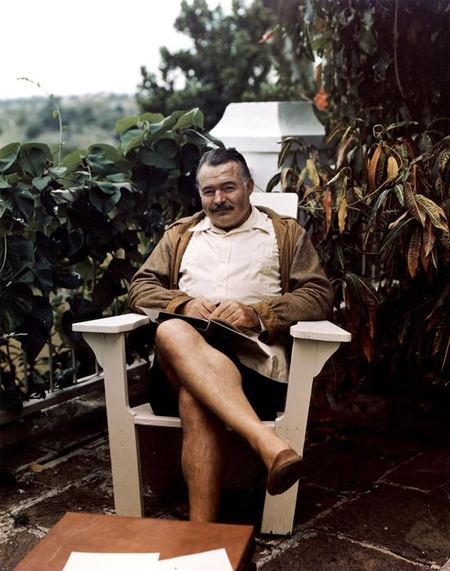 Mr. Hemingway in an early Adirondack - nice detailing.