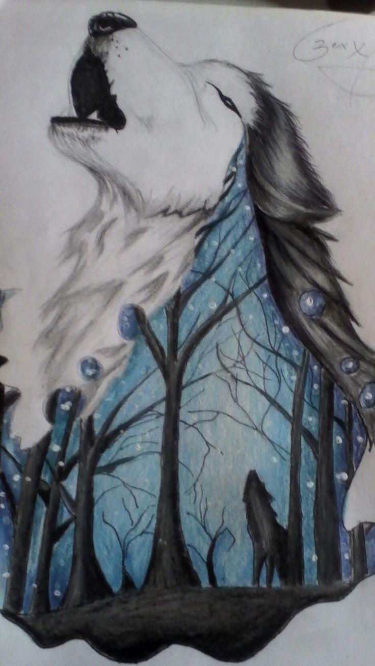 Practicando dibujos de lobos