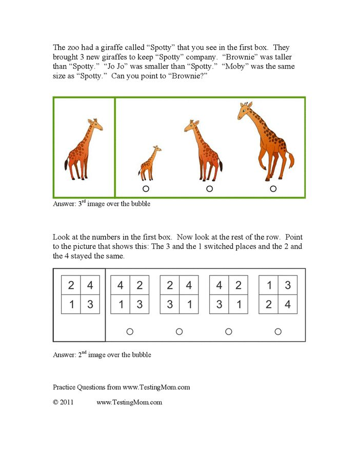 Gifted Test Sample Questions Kindergarten Through 3rd Grade