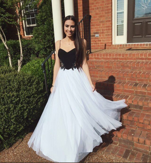 Spaghetti Straps Sexy Real Made Long Evening Dresses/Black and White Prom Dresses #L11