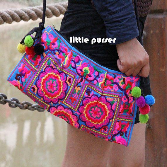Stickerei-Tasche, bestickt folk Stil, chinesische Wind Tasche, Tasche, Rucksack Flower Geldbörse, Flower Bag, Purse