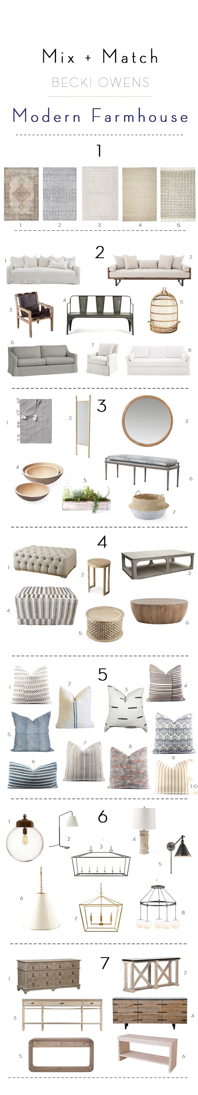 BECKI OWENS--Mix and Match Design: Modern Farmhouse. Getting a curated farmhouse look is simple with our mix and match guide. Head to the blog for details!