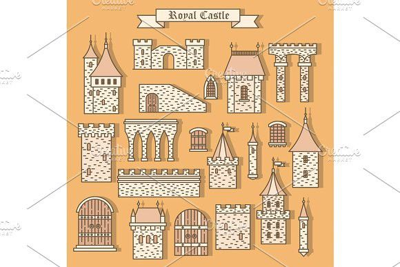 Cartoon Stone Castle Isolated Parts Castle Vector Castle Window Design