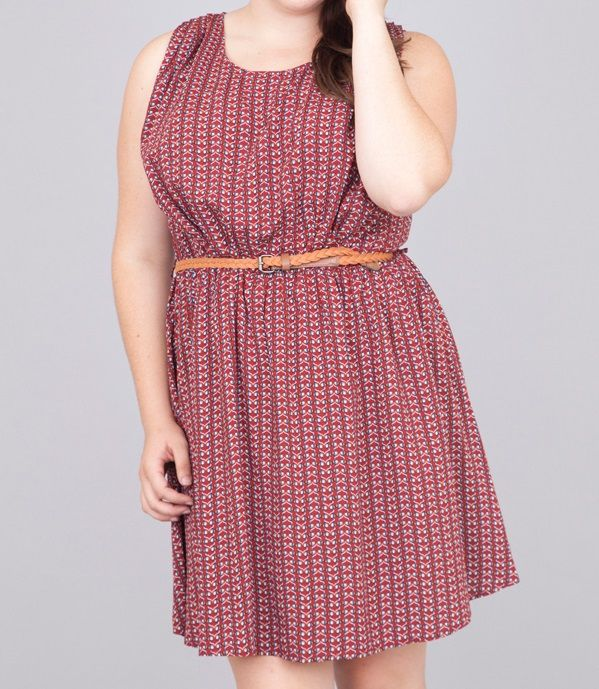 #Sleeveless burgendy #dress with fun pattern all over. Would be so cute with a contrasting color cardigan on top! Belt included. #plussize #curvy