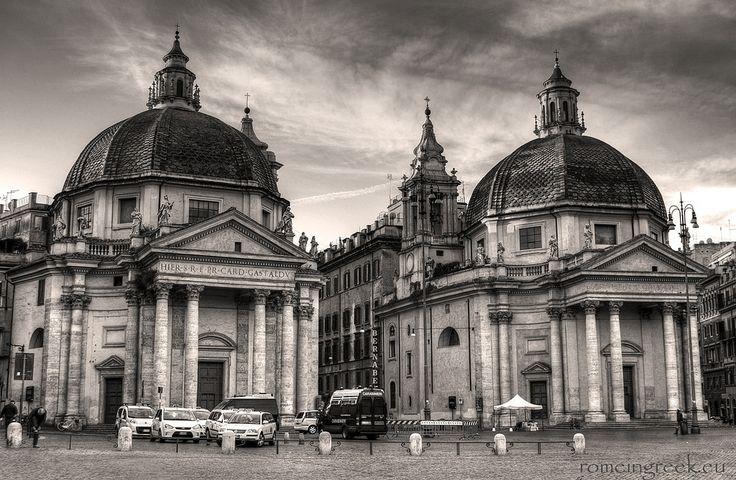 piazza del Popolo, twin churches