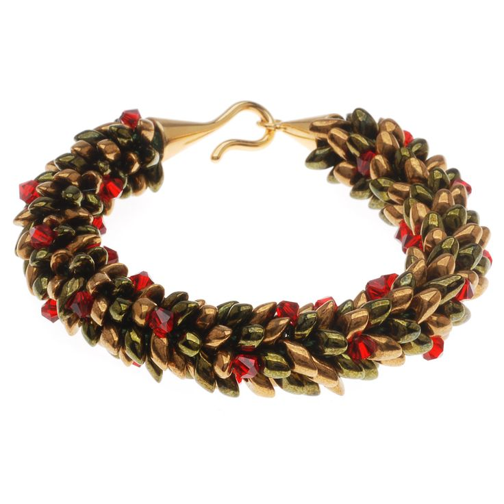 tutorial how to beaded kumihimo holiday wreath bracelet beadaholique