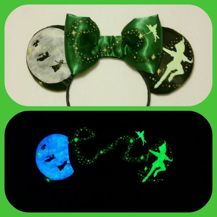 Glow in the dark Peter Pan Mouse Ears 2 weeks production time. Free shipping. If you would like to add a name or monogram to these, please visit this listing.... www.etsy.com/listing/281442148/personalized-glow-in-the-dark-peter-pan?ref=shop_home_active_10 The ears you will