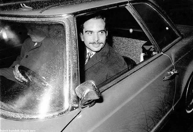 King Hussain and his Mercedes 230 SL,