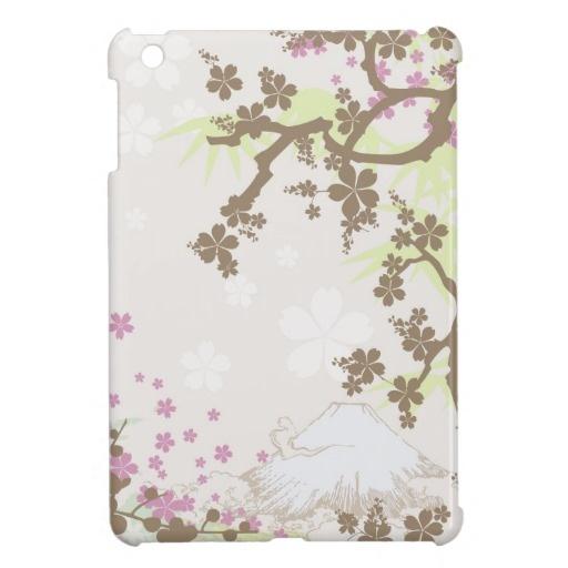 iPad Mini  Fuji and Sakura - brown   Inspired by Japanese art and kimono design.