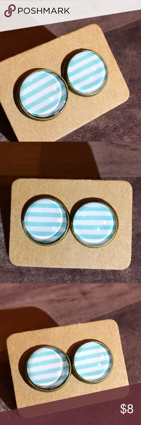 "🆕Blue Sky Stripes Bronze Stud Earrings! New, Handmade by Me! 🆕Modern Geometric Color Line! Approx. 1/2"" Diameter, 12mm; Light Blue Horizontal Stripes on white Back Glass Stud Earrings on a Bronze Post Back; 📸These are my pics of the actual item you will receive!  ▶️Part of 3 for $15 Deal! Bundle & Save! • Glass Cabochon Stud Earrings for pierced ears • Nickel, Lead & Cadmium Free  *NO TRADES *Price is FIRM as Listed!  *Sales are Final-Please Read Descriptions! gallery_of_gems Jewelry…"