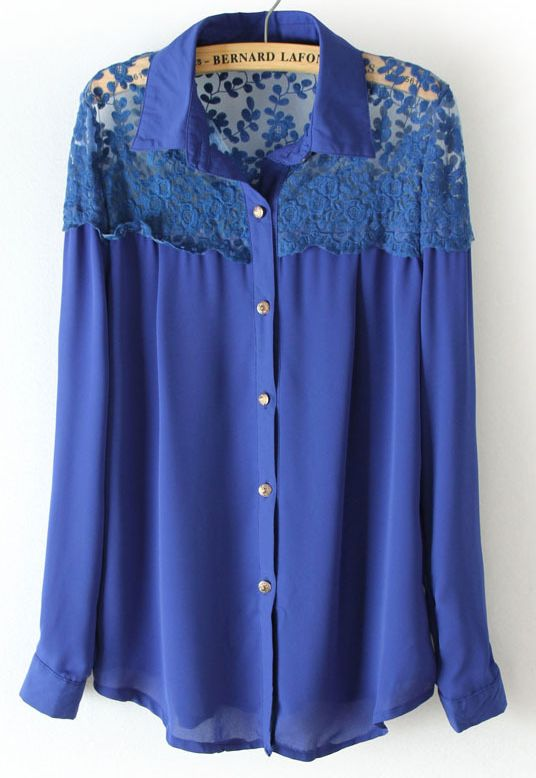 {Blue Long Sleeve Lace Shoulder Blouse} such a fab bright blue