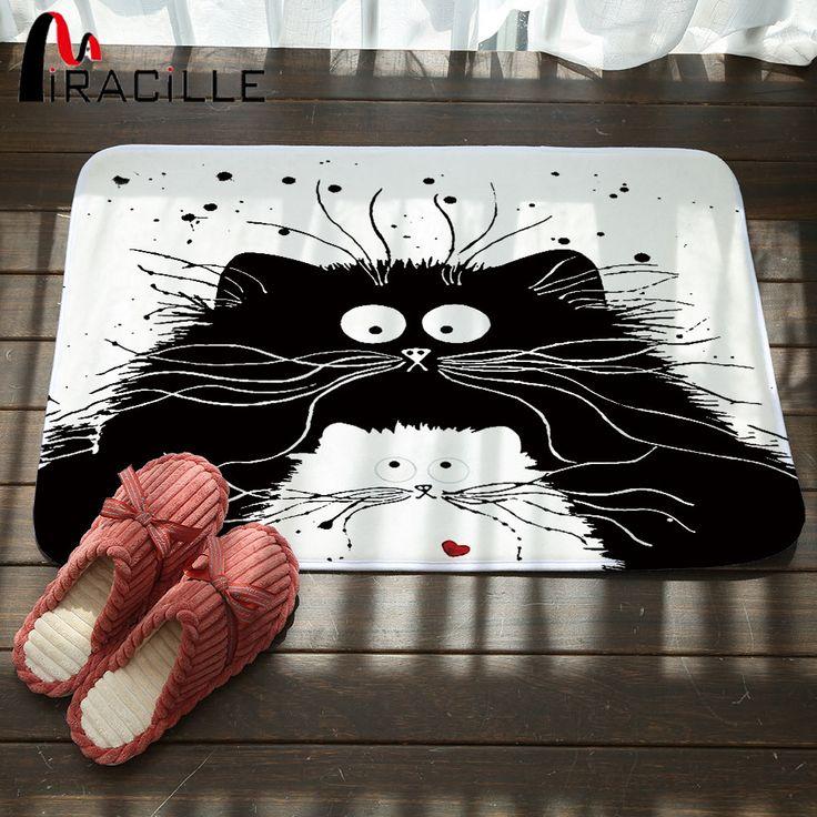 Miracille Modern Cartoon Black White Cat Printed Door Mats Anti-Slip Mat Hallway Bathroom Living Room Bedroom Carpet Home Rugs
