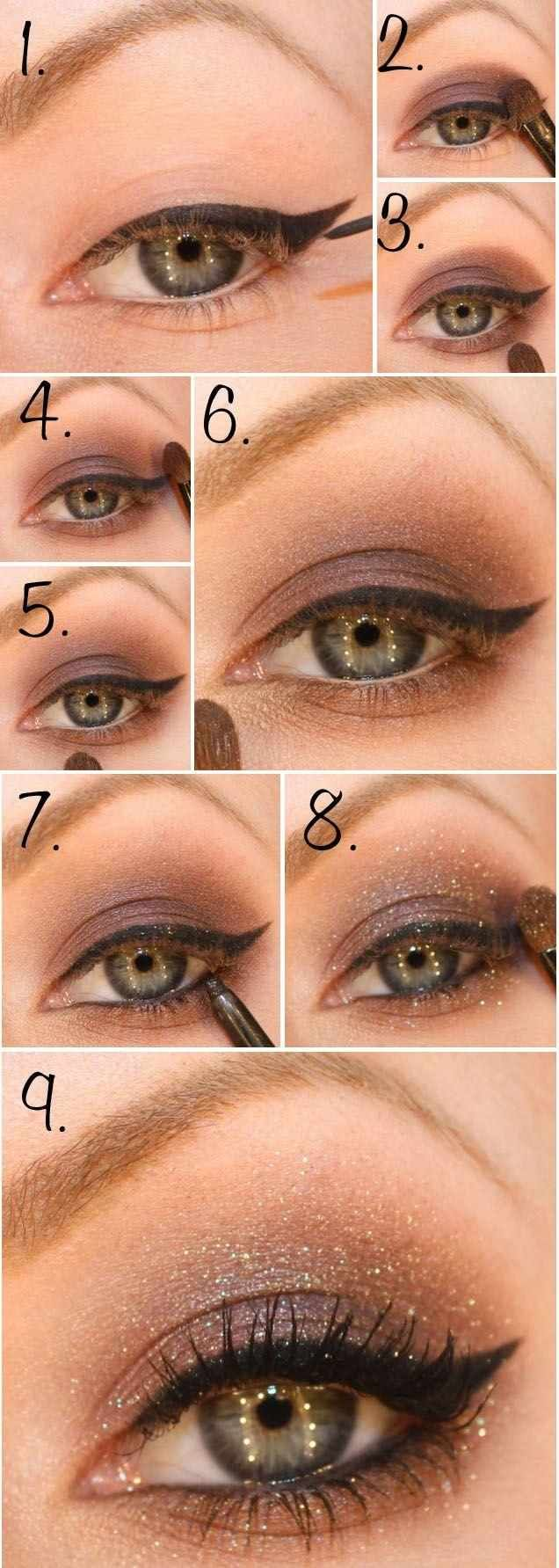 Tuto maquillage yeux eye liner fard paupi res marron particules makeup pinterest - Maquillage mariage yeux marron ...