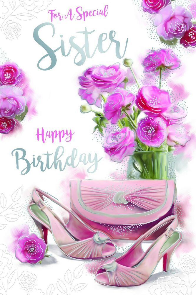 Sister Bags Shoes Vase Flowers Design Happy Birthday Card Lovely