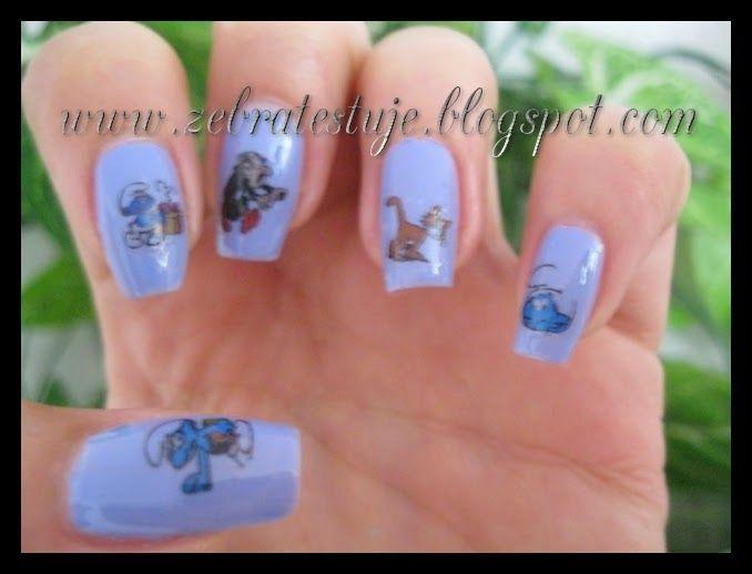 Zebra Testuje: Smerfy na paznokciach :]