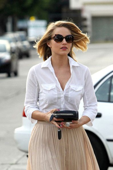 White Collared Shirt With Flowy Skirt My Style Pinterest Dianna Agron White Collared