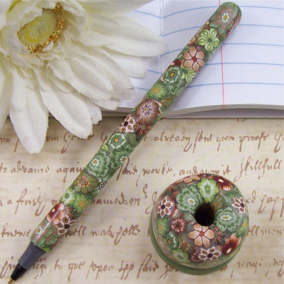 Handmade Polymer Clay Pen With Pen Holder By By Polymerclayshed