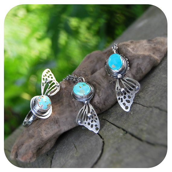 Butterfly Upon The Sea Metalsmithed Royston by LilyBlonde on Etsy, $85.00