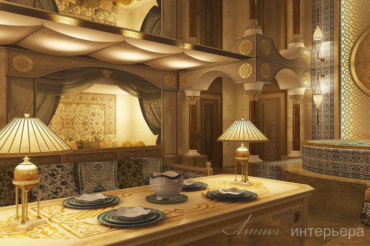 Проект клуба (1050м2).Комната отдыха в арабском стиле в зоне хаммама. Подробнее о проекте на сайте студии - www.line-interior.ru