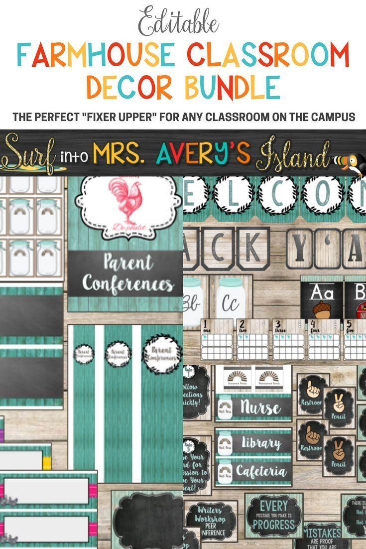 Classroom Decor Bundles ~ This editable farmhouse classroom decor bundle is full of
