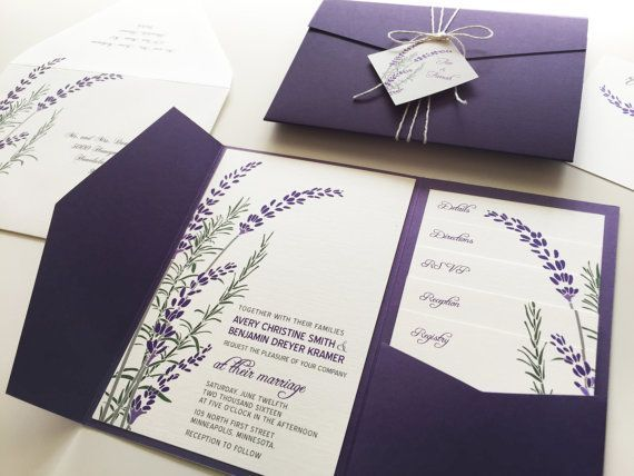 A wild little bouquet of lavender and rosemary adorn this wedding invitation. This design is shown in shades of green and purple (dark or light), but #weddinginvitation