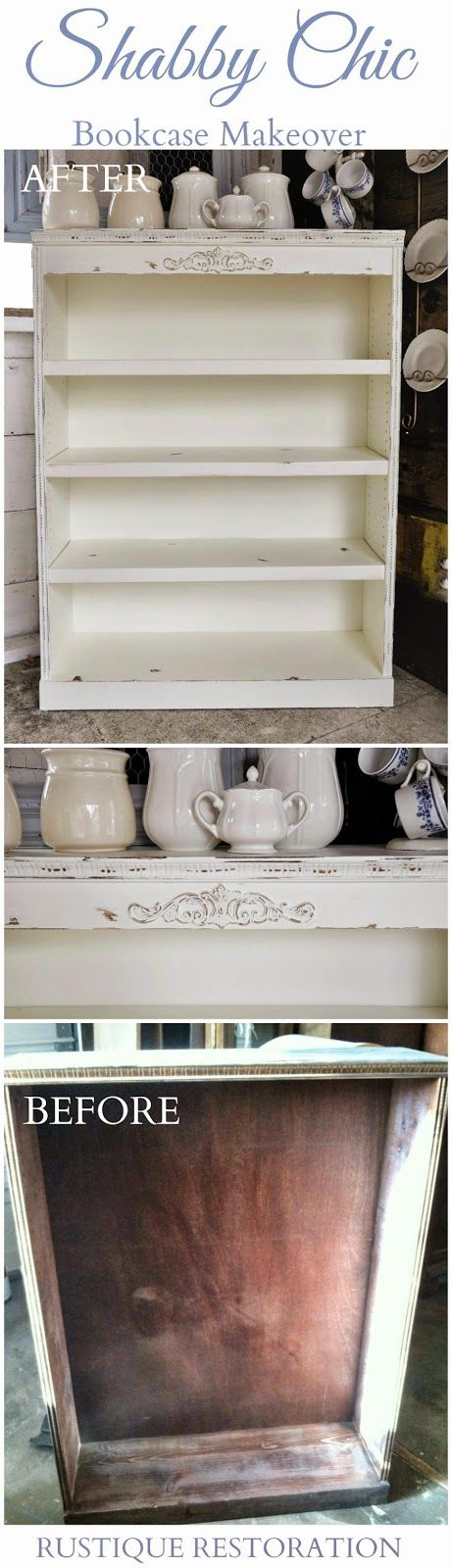 DIY Bookcase Makeover!  Shabby Chic and Vintage at Rustique Restoration