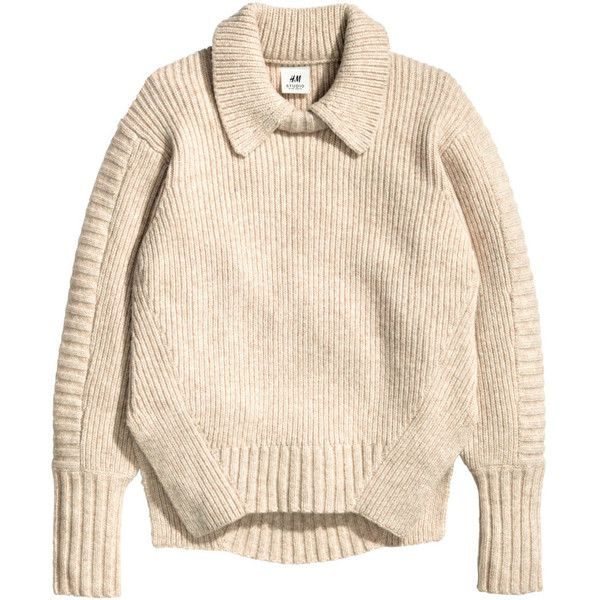 H&M Rib-knit wool-blend jumper (3.420 RUB) ❤ liked on Polyvore featuring tops, sweaters, jumper, light beige, jumpers sweaters, pink sweater, h&m sweater, rib knit sweater and h&m jumper