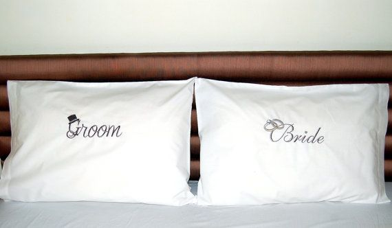 BRIDE/GROOM set embroidered pillow cases 2 pcs set,Wedding His and Hers bedding, Wedding Shower gift, best quality Percale cotton,