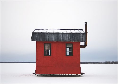 ice shack   (...cr...you see these all over the lakes in Maine)