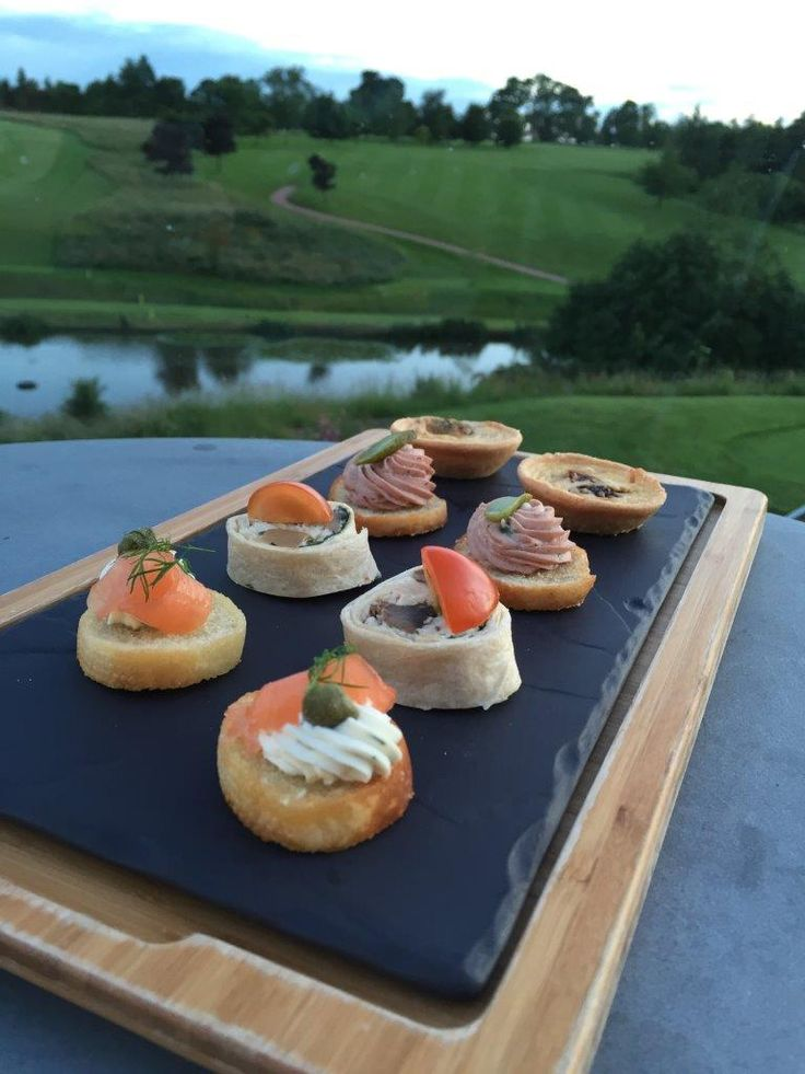 Our scrumptious food perfectly complements our stunning views - sample of canapés from our weddings and parties