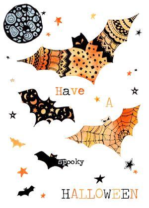 Жуткий Хэллоуин летучие мыши поздравительная открытка