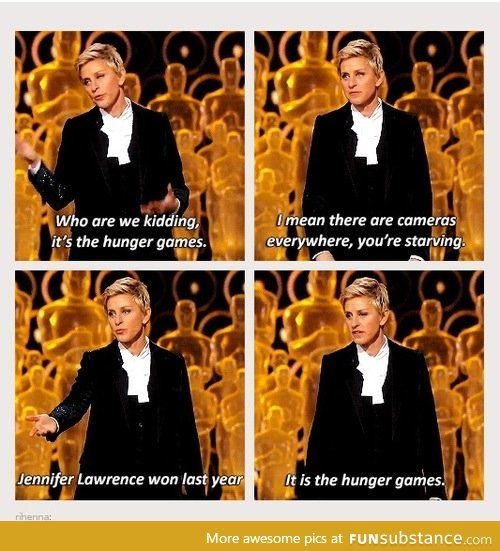 I don't know what awards show this is from, but I'm glad someone else has picked up on how similar Panem is to our own world.
