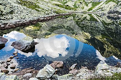 Reflection of mountain peaks seen in the lake