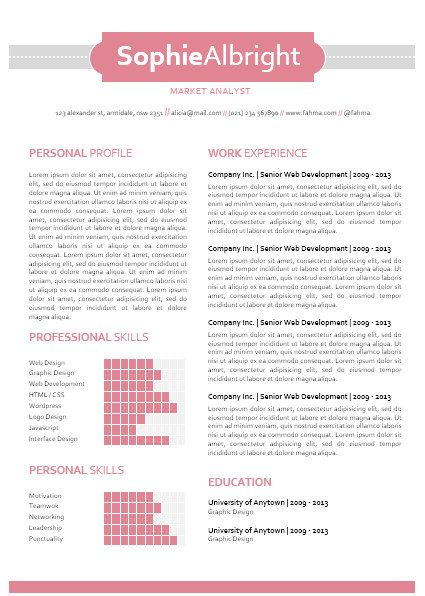 modern microsoft word resume template sophie by inkpower
