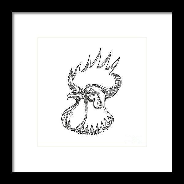 Doodle Framed Print featuring the digital art Junglefowl Head Doodle Art by Aloysius Patrimonio