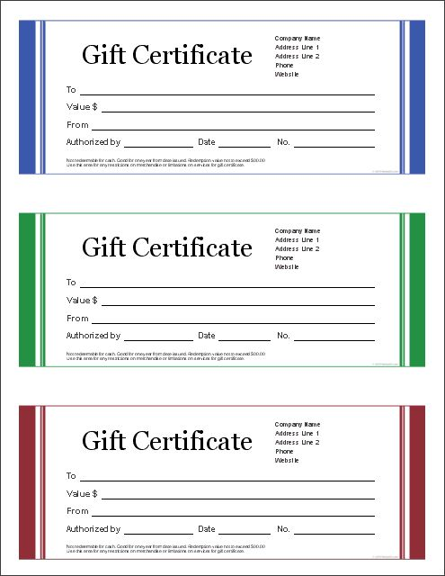Download The Blank Gift Certificate From Vertex42.com More  Gift Certificate Samples