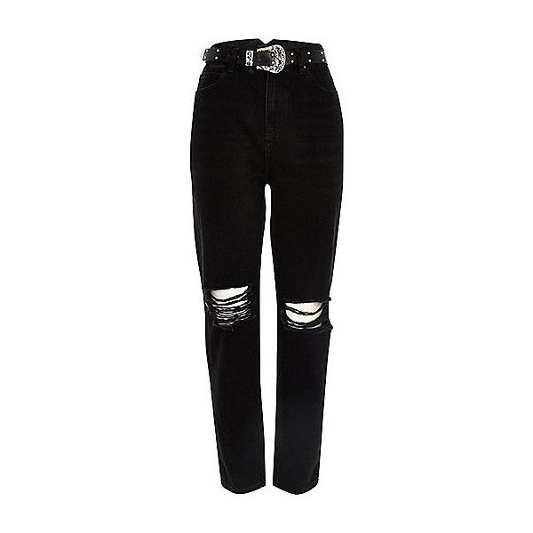 Black ripped Western belt Mom jeans ($59) ❤ liked on Polyvore featuring jeans, western jeans, ripped jeans, destroyed denim jeans, button-fly jeans and high rise jeans