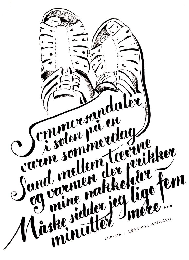 Sommer sandal vers :) (Calligraphy, Christa Puch Nielsen)